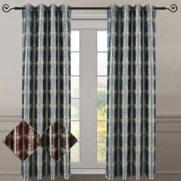 Pair (Set of 2) Top Grommet Window Curtain Panels Abstract Jacquard Studio
