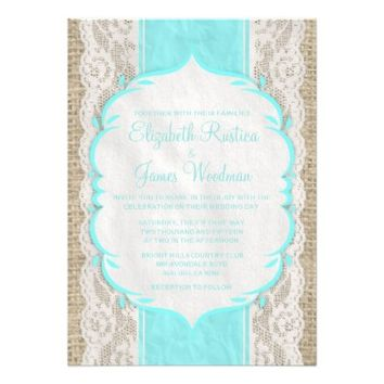 Teal Vintage Linen Burlap Lace Wedding Invitations