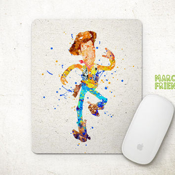 Woody Mouse Pad, Toys Story Watercolor Art, Mousepad, Office Decor, Gift Idea, Art Print, Kid's Computer, Desk Deco, Disney Accessories