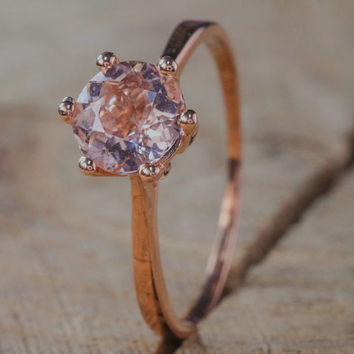 Bestselling Morganite Engagement Ring on Sale: 1 Carat Morganite Solitaire Engagement Ring in Rose Gold