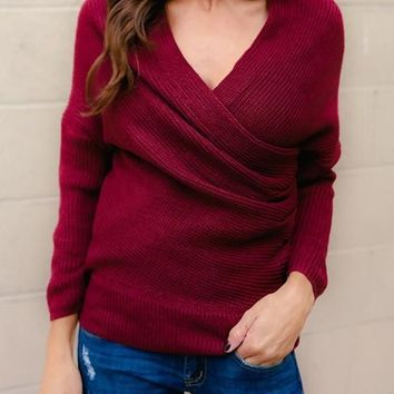 Red V-neck Cross Long Sleeve Fashion Slouchy Casual Pullover Sweater