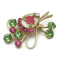 Vintage Pink and Green Rhinestone Floral Spray Brooch - Prong Set Riveted Pin - Teardrop Flower Cabochon Tear Drop - Mid Century Jewelry