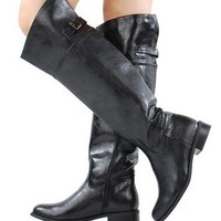 Women's Knee High Euro-Style Designer BLACK Breckell's Distressed Office BOOTS