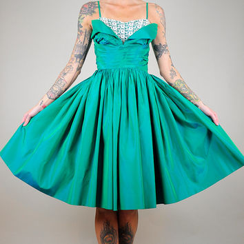 Emerald 50's TULLE Bombshell DRESS Crinoline Crochet Lace Jewel Taffeta ORIGAMI Formal Party Tuxedo xxs/xs