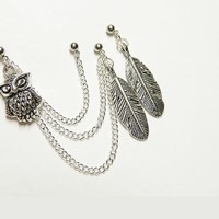Feather and Owls Triple Piercing Chain Earring Handmade