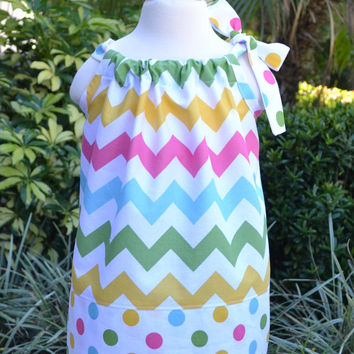 Easter Dress for little girls - pastel Chevron pillowcase dress, Easter outfit, spring dress, summer dress, polka dots, baby dress, gift