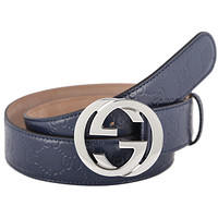 NEW GUCCI GUCCISSIMA BLUE LEATHER INTERLOCKING G PALLADIUM BUCKLE BELT 100/40