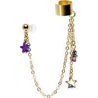 Handcrafted Gold Plated Galactic Star Tragus Cartilage Ear Cuff Chain