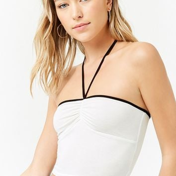 Ruched Halter Crop Top