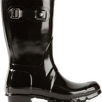 Hunter patent wellington boots