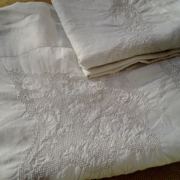 Antique 1900 's Handmade French Linen Sheet, Pillow, Bolster Set - Medallion Front Embroidered - Cut Work - Heavy Worked - White - 2 persons
