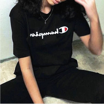 shosouvenir : Champion Hot Sale Embroidery (4-color) Tee shirt top Black