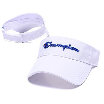 Champion Popular Women Men Embroidery Sports Sun Hat Baseball Cap Hat White(Blue Logo)