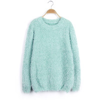 Scoop Solid Mohair Pullover Short Loose Sweater