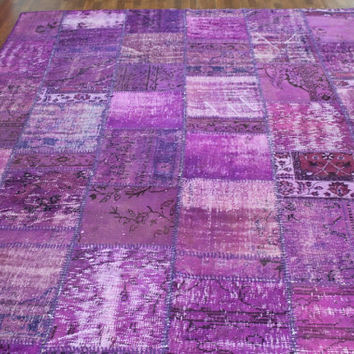Overdyed Handmade Turkish Patchwork Carpet Light Purple- Vintage Overdyed Turkish Rug- (248 X 320 cm)(8,1ft X 10,4 ft)