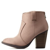 Taupe Chunky Heel Ankle Booties by Charlotte Russe