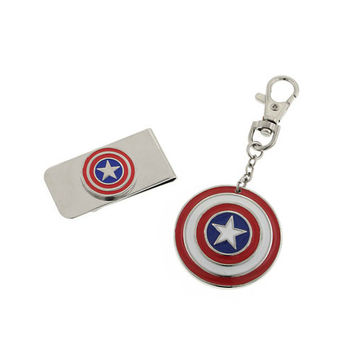 Captain America Shield Money Clip And Keychain Gift Set