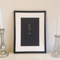 All you need is less - silver on black - DIN A4 - Wall Art Print handmade written - original by misssfaith