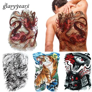 glaryyears 20 Pieces/lot Big Large Full Back Tattoo Colored Temporary Body Chest Back Art Tattoo Tiger Dragon Totem Sticker Sexy