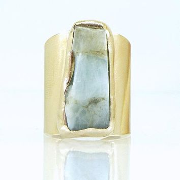 Raw Aquamarine Ring in Gold or Silver setting