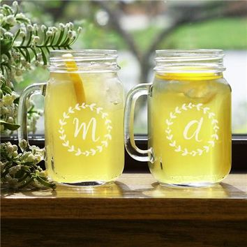 Engraved Wreath Initial Mason Jar Set