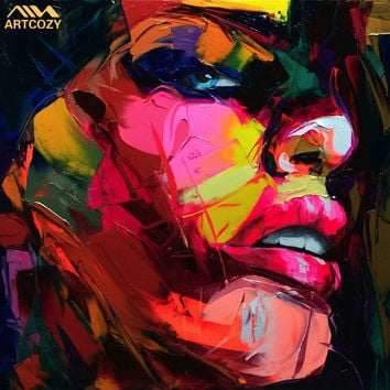 Artcozy Francoise Nielly Nnife Spray Canvas Painting Abstract Portrait Face Oil Paint Figure Wall Art Pictures Home Decoration