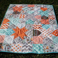 Baby quilt,patchwork crib quilt,baby boy bedding,baby girl quilt,rustic,teal,aqua grey,orange,fox,owl,toddler,Catch a falling star woodland