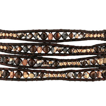 "Chan Luu 32"" Semi Precious Stone and Crystal Mix Wrap Bracelet Brown Mix - Zappos.com Free Shipping BOTH Ways"