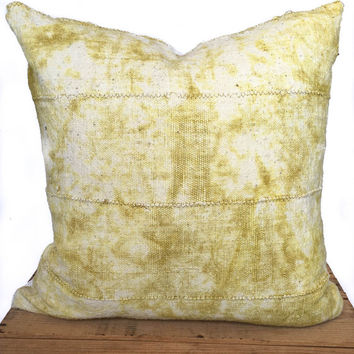 20 Inch Citron African Mud Cloth Pillow Cover