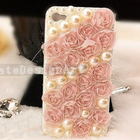 iphone case with pink lace  unique rose iphone 4s by KateDesignArt