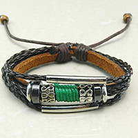 peaceful brown Adjustable  hipster jewelry leather bracelet with wooden bead and hollowed tube  Wristband Mens Womens 26