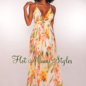 White Tropical Floral Print CrissCross Maxi Dress