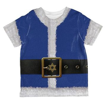 CUPUPWL Christmas Hanukkah Jewish Santa Claus Costume All Over Toddler T Shirt