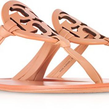 Tory Burch Miller Natural Vachetta Nappa Leather Flat Sandals