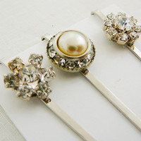 Bobby Pin, Pearl Rhinestone Vintage Hair Embellishment, Bridal, Wedding, Clear Hair Accessory