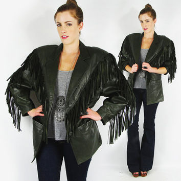 vtg 80s forest green LEATHER ethnic southwest SOUTHWESTERN FRINGE oversized blazer jacket coat S M