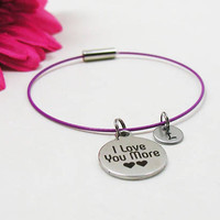 I Love You More Bracelet - I Love You More Bangle - Initial Charm - Charm Bracelet - Initial Bracelet - Personalize Gift - Custom Bracelet