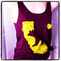American Apparel Triblend Racerback Vintage HOME I HEART California State Bear Gold and Maroon Tank Top S M L