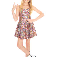Girls Multi Glitter Skater Dress