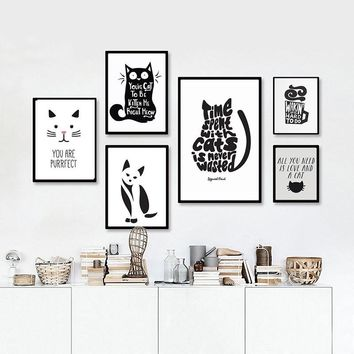 Canvas Wall Art: Abstract Cat Quotes on Canvas s Black and White Wall Art