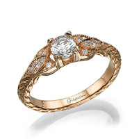 Antique Engagement Ring Rose Gold With Milgrain and Diamonds In Prong Setting, Unique engagement ring, Vintage Ring, Anniversary Ring