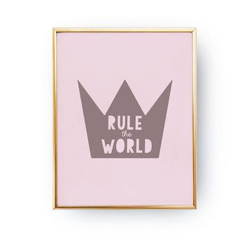Rule The World Print, Kids Print, Nursery Poster, Kids Room Print, Baby Print Poster, Wall Decor, Crown Poster,Kids Wall Art, black and pink