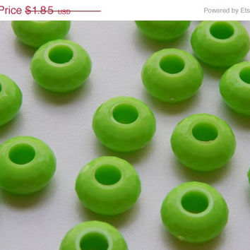 ON SALE 25 Pieces of Large Hole Acrylic Beads - 14mm Round Shape, European Style, Lime Green Color, Faceted Finish, Rondelle, 5.5mm Hole Siz