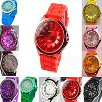 Unisex Fashion Silicone Quartz Sports Watch Men Women Geneva Jelly Wrist Watch = 1956432196
