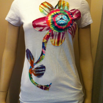 Womens Plus Size Tie Dye Daisy  Tshirt - Upcycled clothing - Casual Wearable Art - Hippie Boho