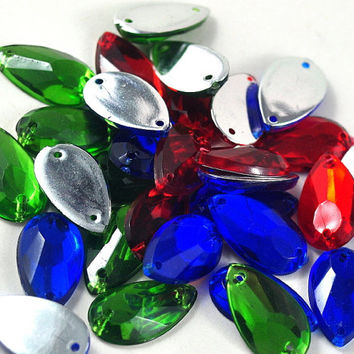 Faceted Tear Drop Acrylic Sew on Beads Available in Blue, Lime Green and Red Jewellery and Craft Supplies 1.8 cm x 1.1cm - quantity 20