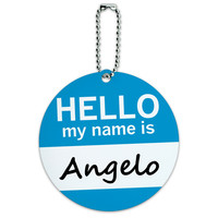 Angelo Hello My Name Is Round ID Card Luggage Tag