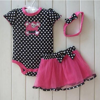 Baby Girl Clothes 3 Piece Suits Skull Romper +Tutu Skirt + Headband Dot Fashion