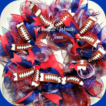 Custom Handmade Football deco mesh wreath with handpainted wooden team logo with small football. NFL NCAA, Pick your colors and logo.