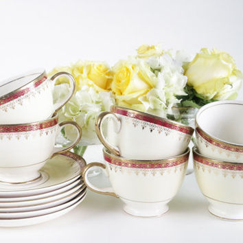 Homer Laughlin Tea Set Eggshell Nautilus N1642 Maroon & Gold. Red Footed Cups And Saucers. Tea Party Wedding Gift. Luxury Dinnerware